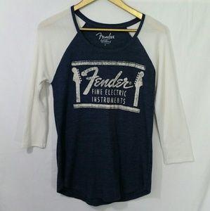 Lucky Brand Raglan Shirt 3/4 Sleeve Fender Navy S